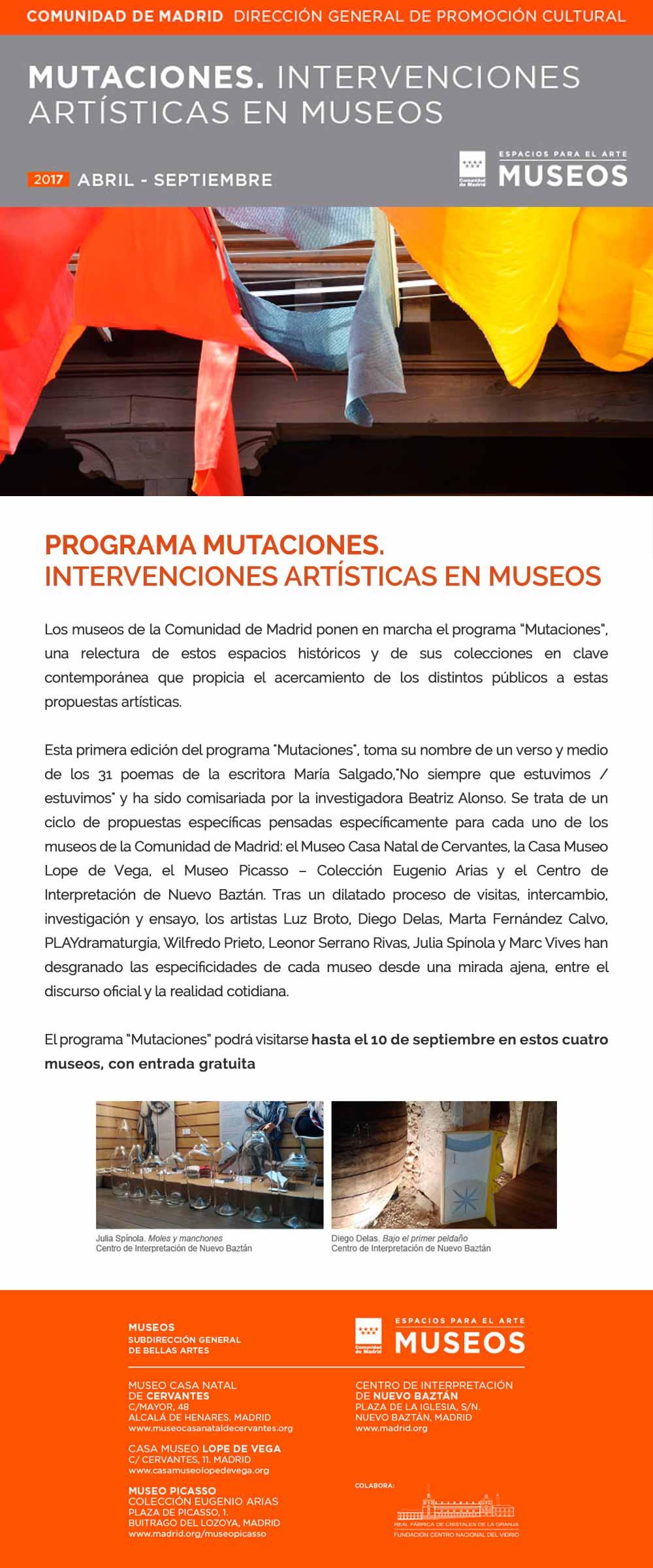Programa Mutaciones. Intervenciones artísticas en Museos