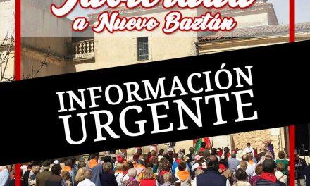 Información urgente sobre la Javierada del 15 de marzo 2020